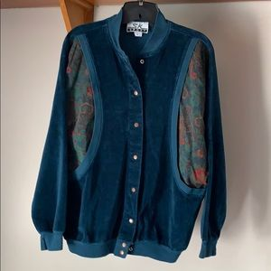 Vintage Teal Paisley Velour Bomber Jacket